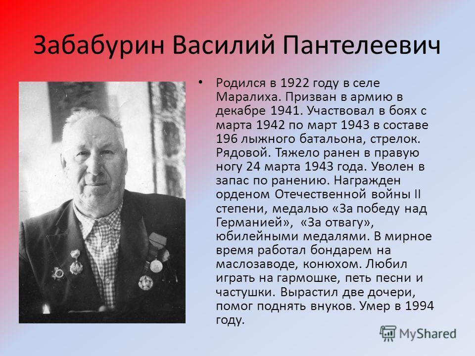 Забабурин Василий Пантелеевич Родился в 1922 году в селе Маралиха. Призван в армию в декабре 1941. Участвовал в боях с марта 1942 по март 1943 в составе 196 лыжного батальона, стрелок. Рядовой. Тяжело ранен в правую ногу 24 марта 1943 года. Уволен в