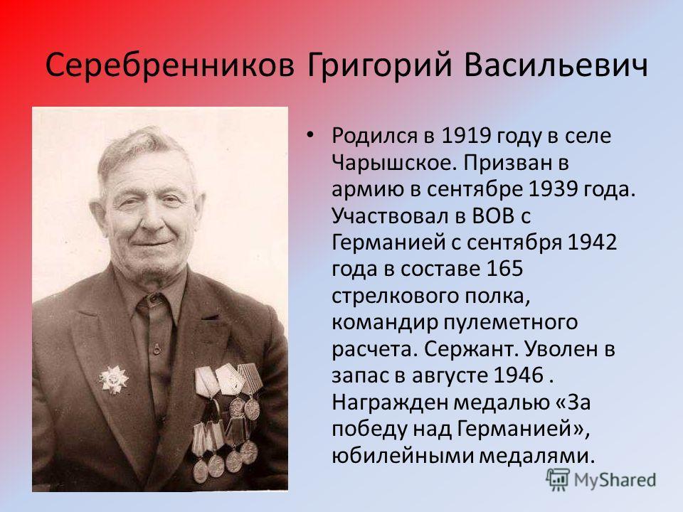 Серебренников Григорий Васильевич Родился в 1919 году в селе Чарышское. Призван в армию в сентябре 1939 года. Участвовал в ВОВ с Германией с сентября 1942 года в составе 165 стрелкового полка, командир пулеметного расчета. Сержант. Уволен в запас в а
