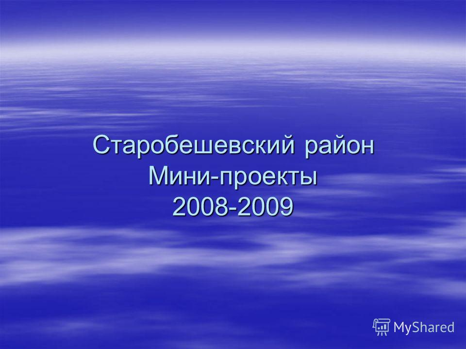 Старобешевский район Мини-проекты 2008-2009