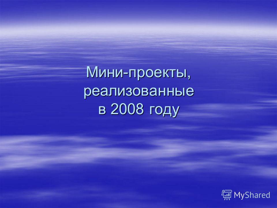 Мини-проекты, реализованные в 2008 году
