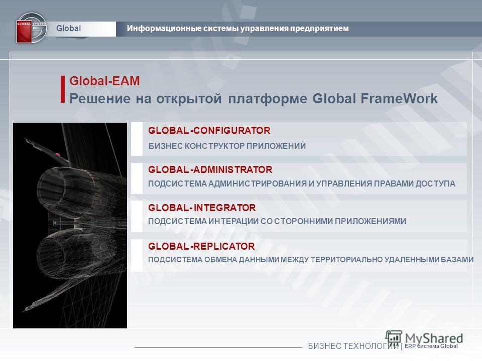БИЗНЕС ТЕХНОЛОГИИ | ERP система Global GlobalИнформационные системы управления предприятием Global-EAM Решение на открытой платформе Global FrameWork GLOBAL -ADMINISTRATOR ПОДСИСТЕМА АДМИНИСТРИРОВАНИЯ И УПРАВЛЕНИЯ ПРАВАМИ ДОСТУПА GLOBAL -CONFIGURATOR