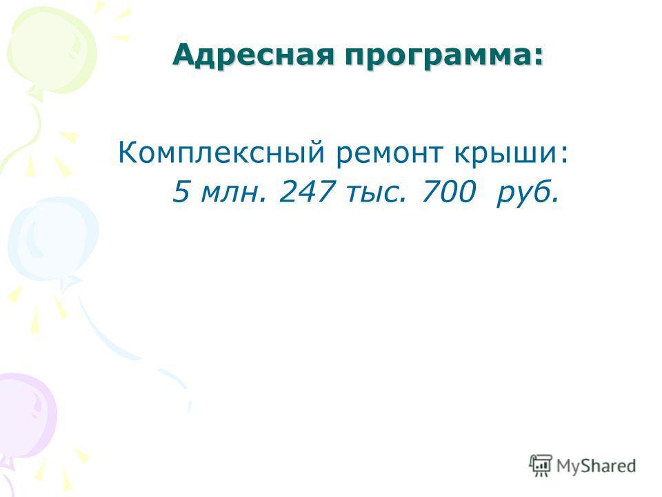Адресная программа: Комплексный ремонт крыши: 5 млн. 247 тыс. 700 руб.