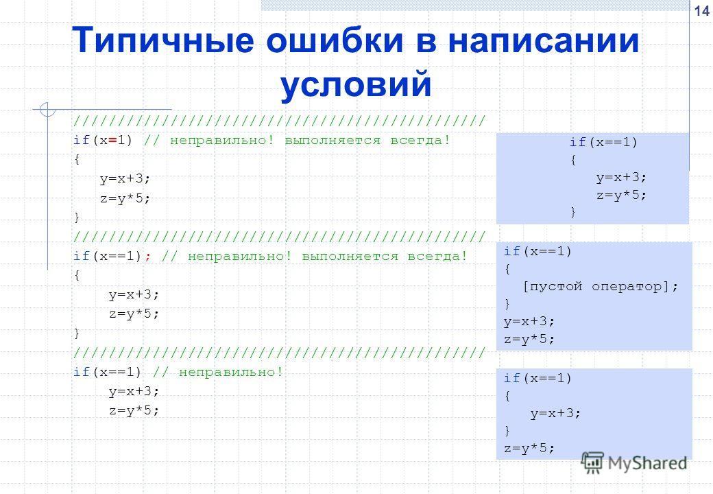 14 Типичные ошибки в написании условий /////////////////////////////////////////////// if(x=1) // неправильно! выполняется всегда! { y=x+3; z=y*5; } /////////////////////////////////////////////// if(x==1); // неправильно! выполняется всегда! { y=x+3