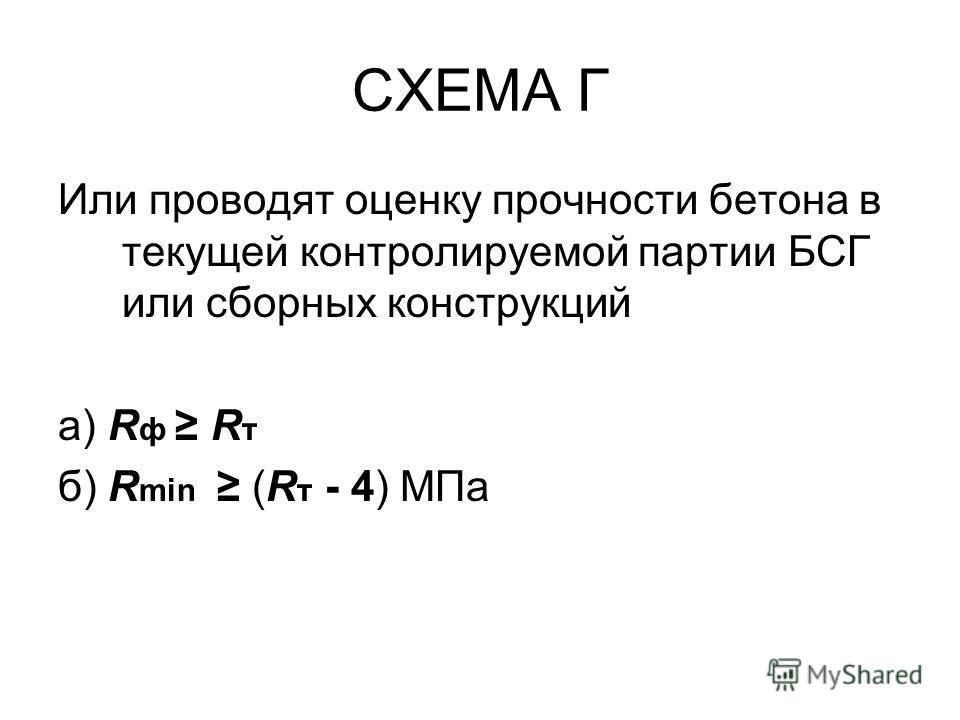 СХЕМА Г Или проводят оценку прочности бетона в текущей контролируемой партии БСГ или сборных конструкций а) R ф R т б) R min (R т - 4) МПа