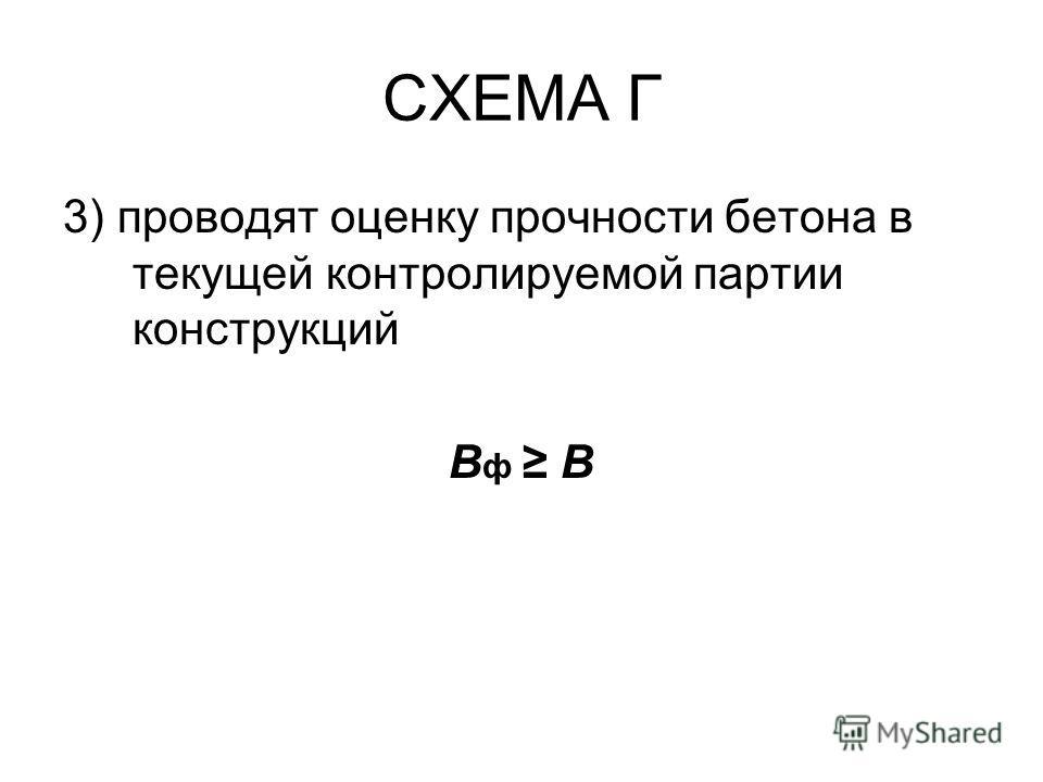 СХЕМА Г 3) проводят оценку прочности бетона в текущей контролируемой партии конструкций B ф B