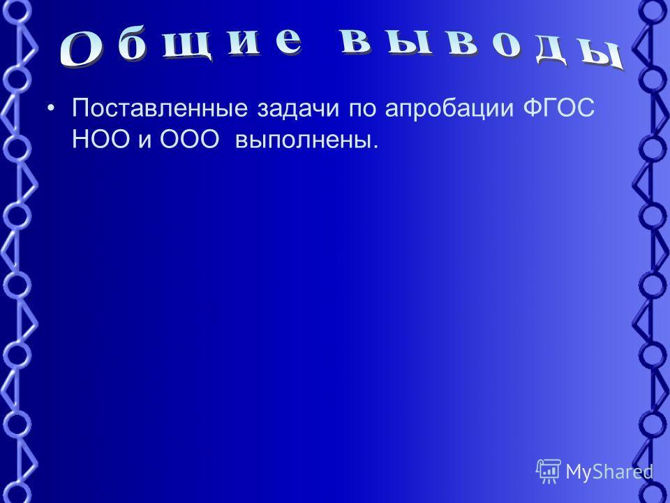 Поставленные задачи по апробации ФГОС НОО и ООО выполнены.