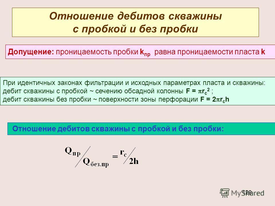 129 Отношение дебитов скважины с пробкой и без пробки Допущение: проницаемость пробки k пр равна проницаемости пласта k При идентичных законах фильтрации и исходных параметрах пласта и скважины: дебит скважины с пробкой сечению обсадной колонны F = r