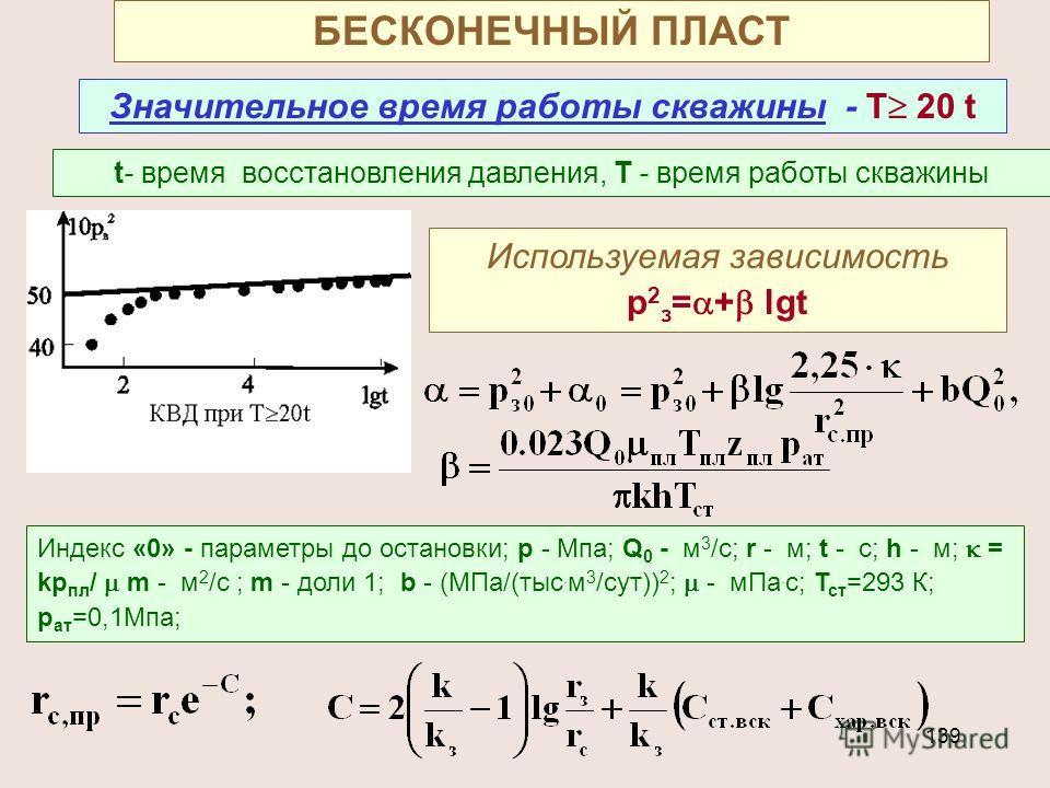 139 БЕСКОНЕЧНЫЙ ПЛАСТ Значительное время работы скважины - Т 20 t t- время восстановления давления, Т - время работы скважины Используемая зависимость р 2 з = + lgt Индекс «0» - параметры до остановки; р - Мпа; Q 0 - м 3 /с; r - м; t - с; h - м; = kр