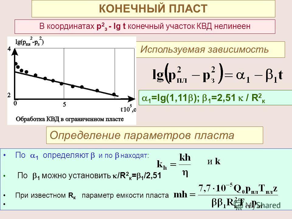 142 КОНЕЧНЫЙ ПЛАСТ В координатах р 2 з - lg t конечный участок КВД нелинеен Используемая зависимость 1 =lg(1,11 ); 1 =2,51 / R 2 к Определение параметров пласта По 1 определяют и по находят: По 1 можно установить /R 2 к = 1 /2,51 При известном R к па