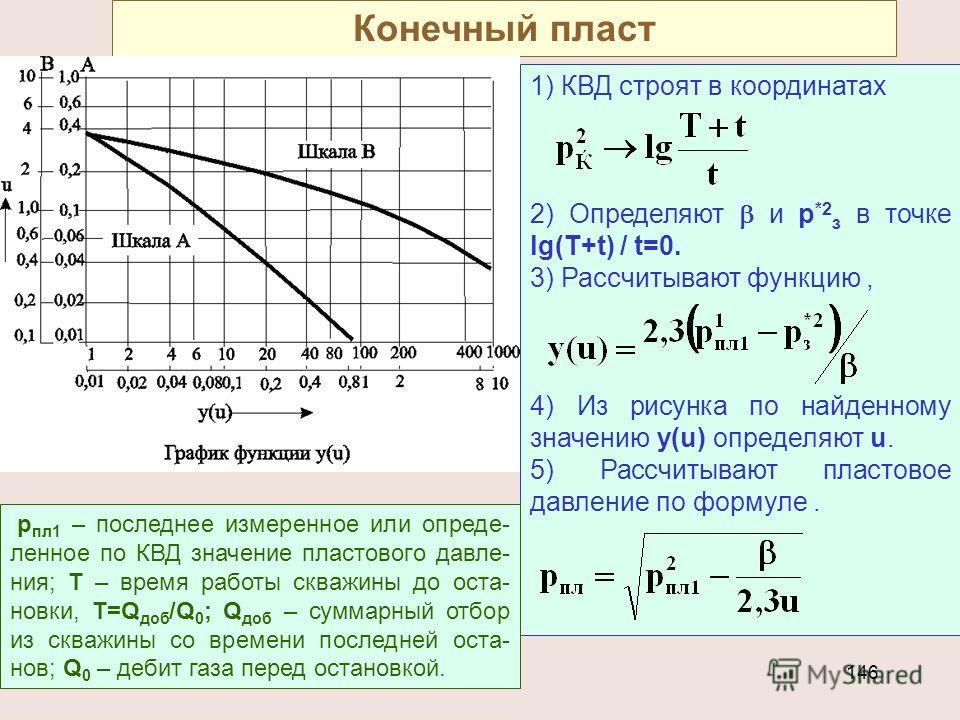 146 Конечный пласт 1) КВД строят в координатах 2) Определяют и р *2 з в точке lg(T+t) / t=0. 3) Рассчитывают функцию, 4) Из рисунка по найденному значению у(u) определяют u. 5) Рассчитывают пластовое давление по формуле. р пл1 – последнее измеренное