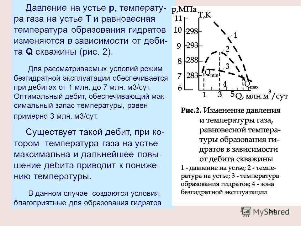 54 Давление на устье р, температу- ра газа на устье Т и равновесная температура образования гидратов изменяются в зависимости от деби- та Q скважины (рис. 2). Для рассматриваемых условий режим безгидратной эксплуатации обеспечивается при дебитах от 1