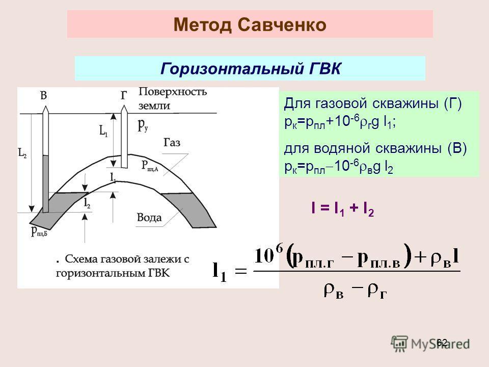 62 Метод Савченко Горизонтальный ГВК Для газовой скважины (Г) р к =р пл +10 -6 г g l 1 ; для водяной скважины (В) р к =р пл 10 -6 в g l 2 l = l 1 + l 2