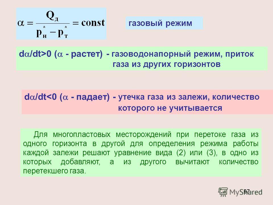 67 газовый режим d /dt>0 ( - растет) - газоводонапорный режим, приток газа из других горизонтов d /dt