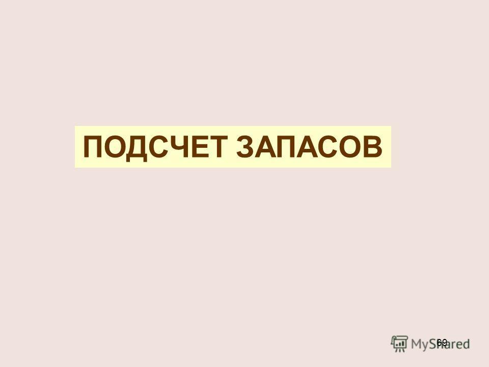 69 ПОДСЧЕТ ЗАПАСОВ