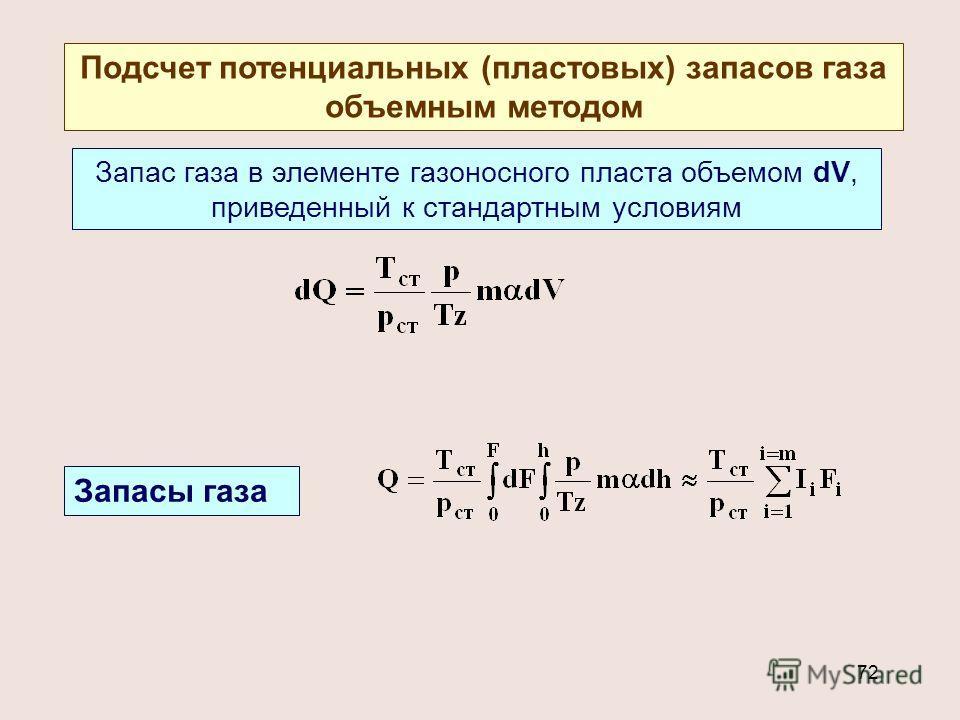 72 Подсчет потенциальных (пластовых) запасов газа объемным методом Запас газа в элементе газоносного пласта объемом dV, приведенный к стандартным условиям Запасы газа