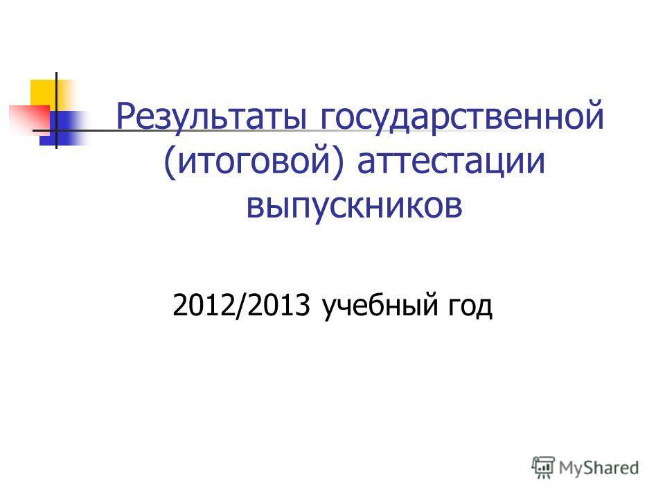 Результаты государственной (итоговой) аттестации выпускников 2012/2013 учебный год