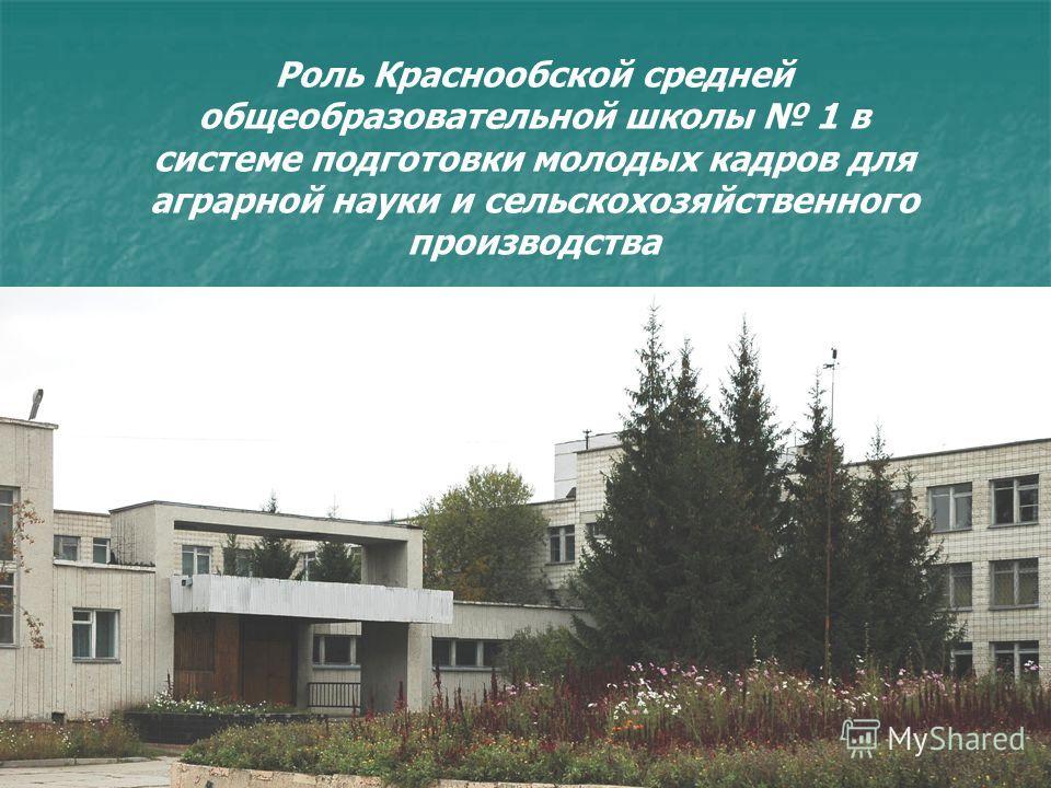 Роль Краснообской средней общеобразовательной школы 1 в системе подготовки молодых кадров для аграрной науки и сельскохозяйственного производства