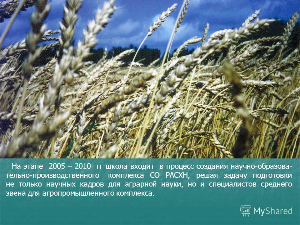 На этапе 2005 – 2010 гг школа входит в процесс создания научно-образова- тельно-производственного комплекса СО РАСХН, решая задачу подготовки не только научных кадров для аграрной науки, но и специалистов среднего звена для агропромышленного комплекс