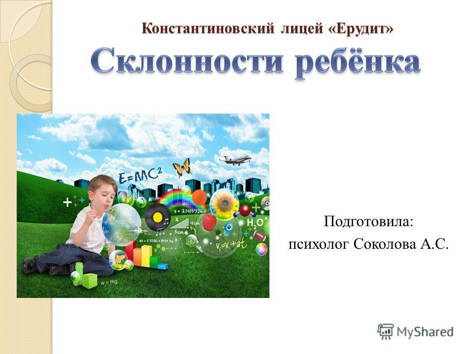 Константиновский лицей «Ерудит» Подготовила: психолог Соколова А.С.