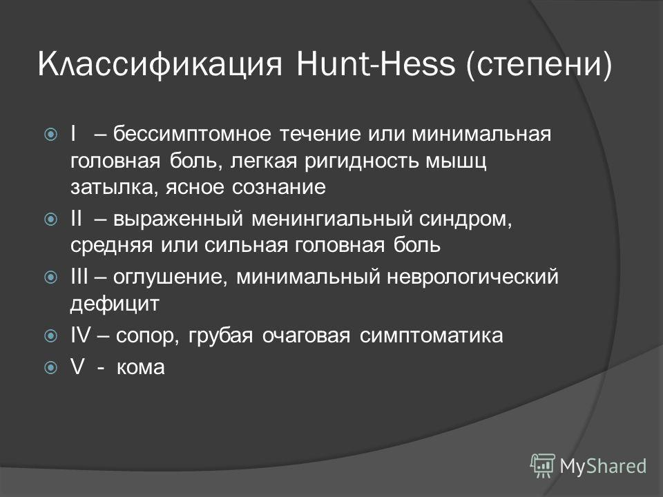 Классификация Hunt-Hess (степени) I – бессимптомное течение или минимальная головная боль, легкая ригидность мышц затылка, ясное сознание II – выраженный менингиальный синдром, средняя или сильная головная боль III – оглушение, минимальный неврологич