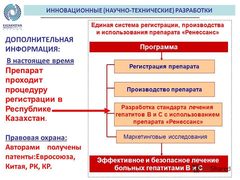 ИННОВАЦИОННЫЕ (НАУЧНО-ТЕХНИЧЕСКИЕ) РАЗРАБОТКИ ДОПОЛНИТЕЛЬНАЯ ИНФОРМАЦИЯ: В настоящее время Препарат проходит процедуру регистрации в Республике Казахстан. Правовая охрана: Авторами получены патенты:Евросоюза, Китая, РК, КР. Единая система регистрации