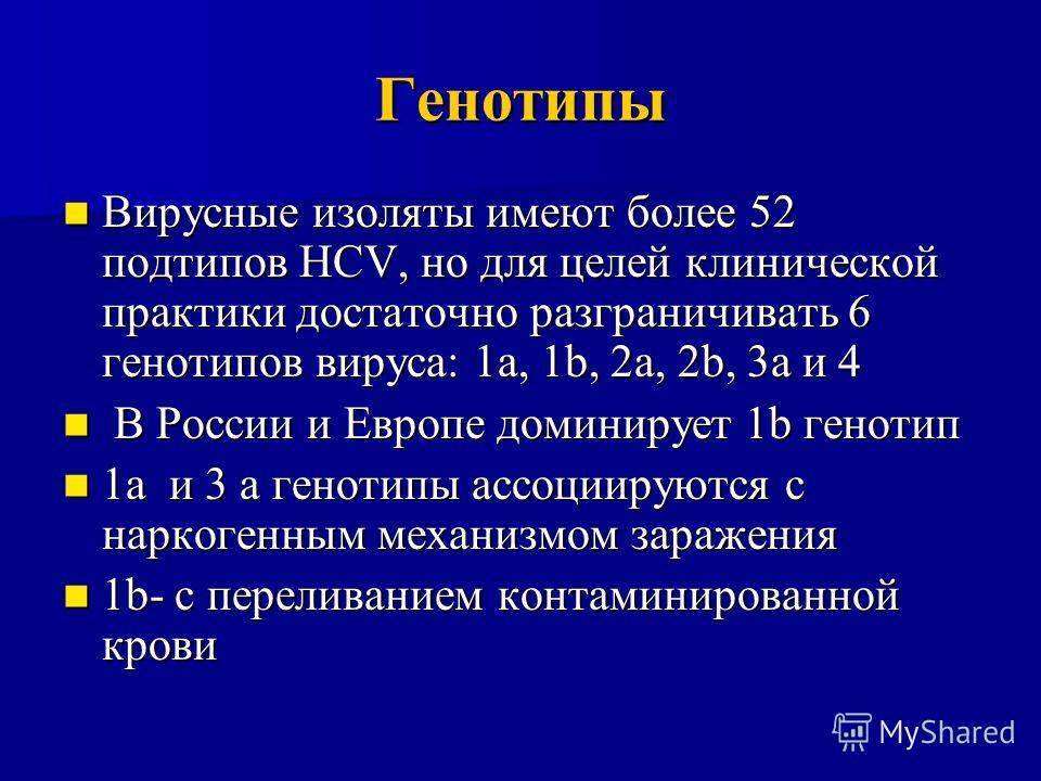 Генотипы Вирусные изоляты имеют более 52 подтипов HCV, но для целей клинической практики достаточно разграничивать 6 генотипов вируса: 1а, 1b, 2a, 2b, 3a и 4 Вирусные изоляты имеют более 52 подтипов HCV, но для целей клинической практики достаточно р