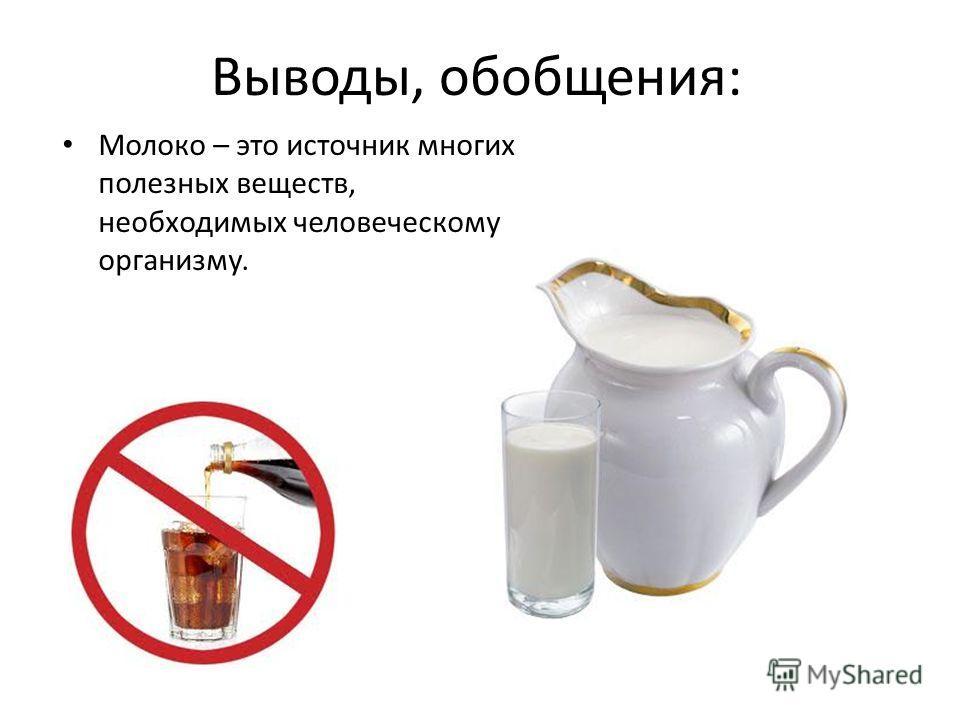 Выводы, обобщения: Молоко – это источник многих полезных веществ, необходимых человеческому организму.