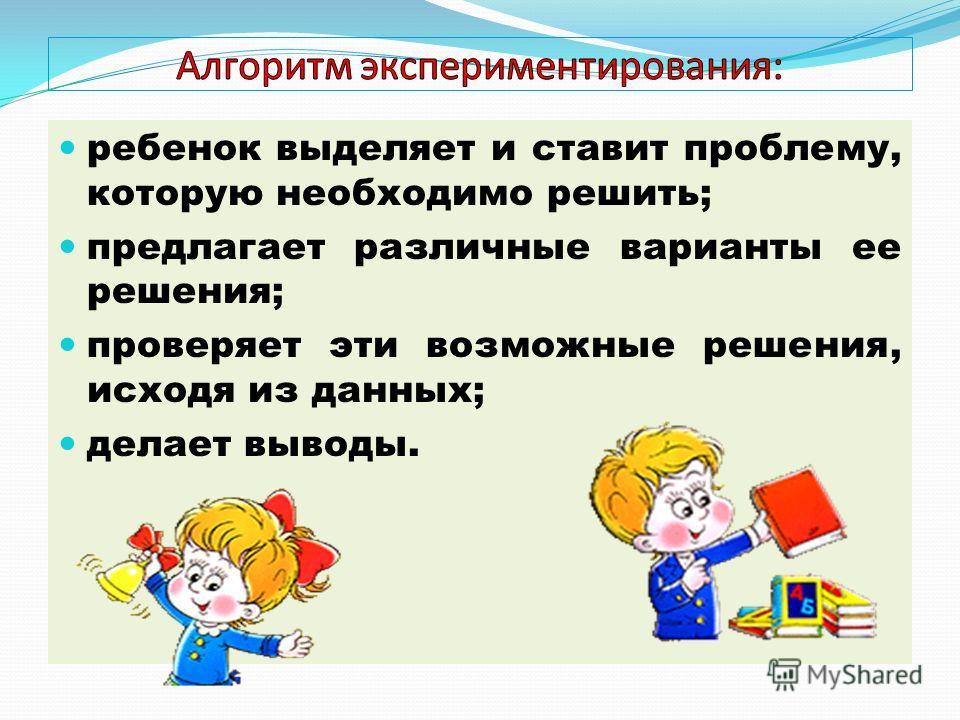 ребенок выделяет и ставит проблему, которую необходимо решить; предлагает различные варианты ее решения; проверяет эти возможные решения, исходя из данных; делает выводы.
