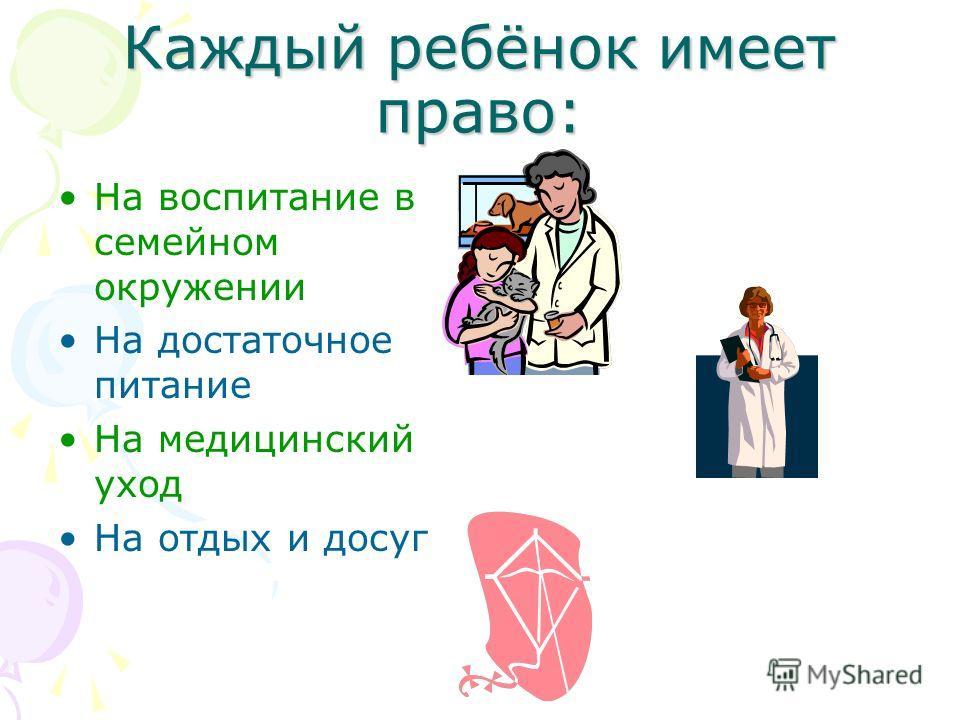 Каждый ребёнок имеет право: На воспитание в семейном окружении На достаточное питание На медицинский уход На отдых и досуг