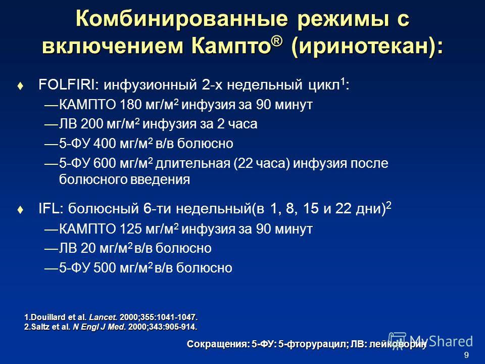9 Комбинированные режимы с включением Кампто ® (иринотекан): FOLFIRI: инфузионный 2-х недельный цикл 1 : КАМПТО 180 мг/м 2 инфузия за 90 минут ЛВ 200 мг/м 2 инфузия за 2 часа 5-ФУ 400 мг/м 2 в/в болюсно 5-ФУ 600 мг/м 2 длительная (22 часа) инфузия по