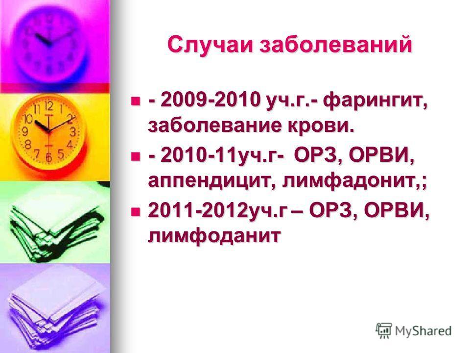 Случаи заболеваний - 2009-2010 уч.г.- фарингит, заболевание крови. - 2009-2010 уч.г.- фарингит, заболевание крови. - 2010-11уч.г- ОРЗ, ОРВИ, аппендицит, лимфадонит,; - 2010-11уч.г- ОРЗ, ОРВИ, аппендицит, лимфадонит,; 2011-2012уч.г – ОРЗ, ОРВИ, лимфод