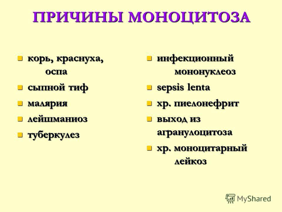 ПРИЧИНЫ МОНОЦИТОЗА корь, краснуха, оспа корь, краснуха, оспа сыпной тиф сыпной тиф малярия малярия лейшманиоз лейшманиоз туберкулез туберкулез инфекционный мононуклеоз sepsis lenta хр. пиелонефрит выход из агранулоцитоза хр. моноцитарный лейкоз