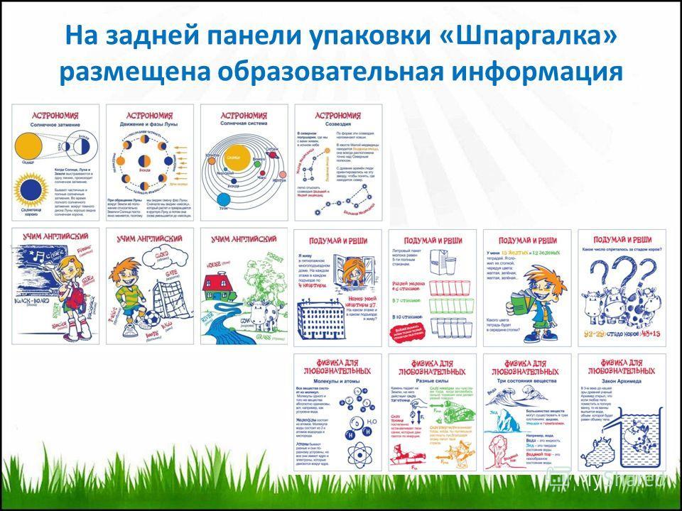 На задней панели упаковки «Шпаргалка» размещена образовательная информация