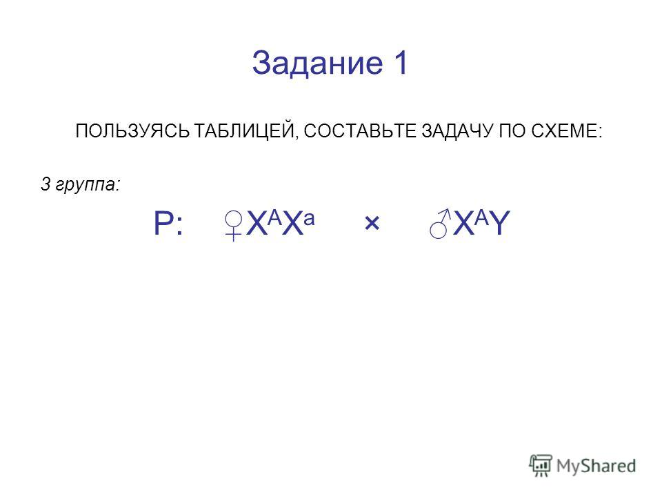 Задание 1 ПОЛЬЗУЯСЬ ТАБЛИЦЕЙ, СОСТАВЬТЕ ЗАДАЧУ ПО СХЕМЕ: 3 группа: Р: Х А Х а × Х А Y