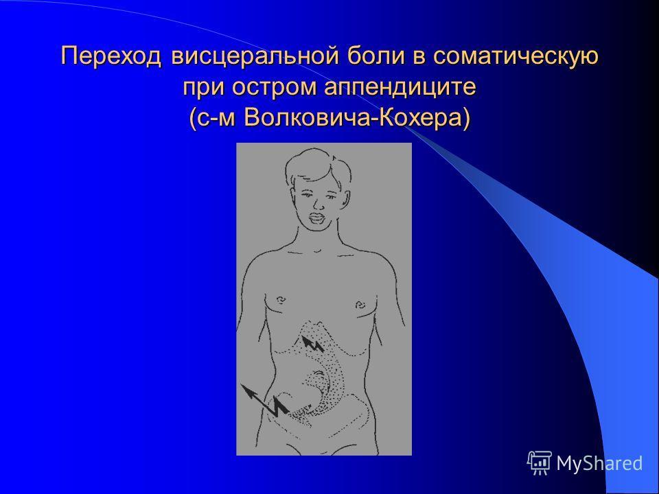 Переход висцеральной боли в соматическую при остром аппендиците (с-м Волковича-Кохера)
