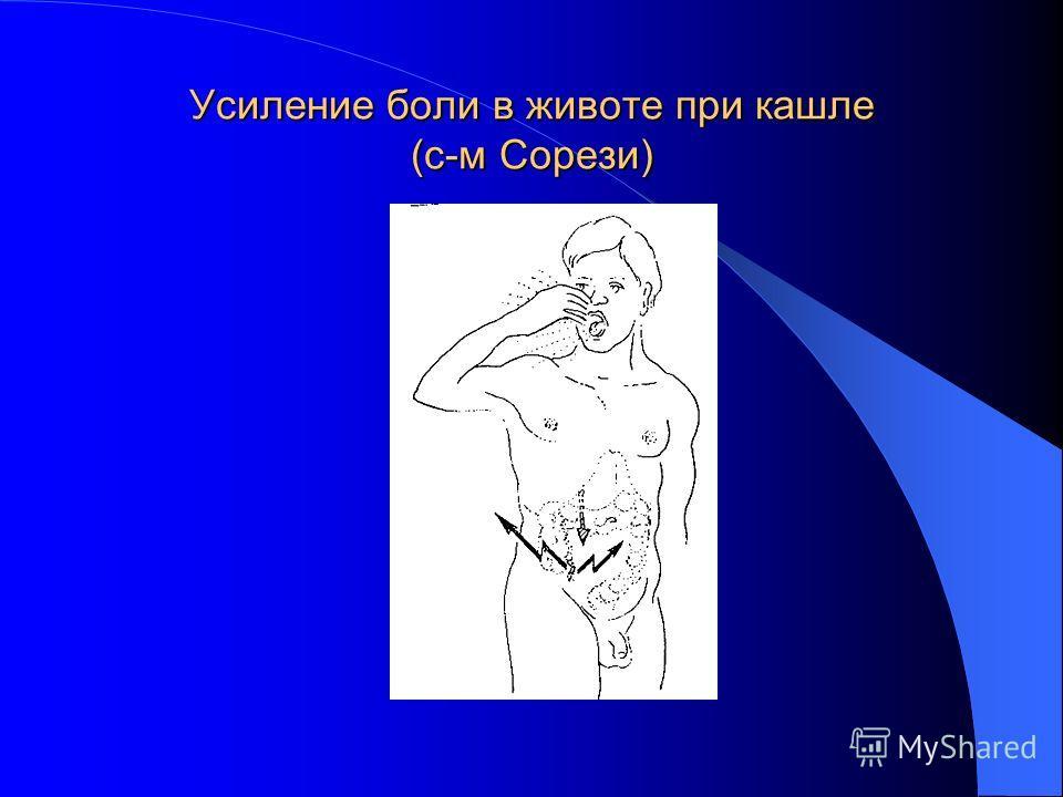 Усиление боли в животе при кашле (с-м Сорези)