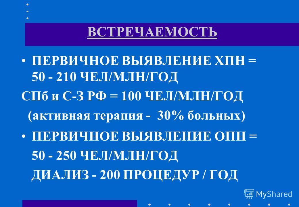 ВСТРЕЧАЕМОСТЬ ПЕРВИЧНОЕ ВЫЯВЛЕНИЕ ХПН = 50 - 210 ЧЕЛ/МЛН/ГОД СПб и С-З РФ = 100 ЧЕЛ/МЛН/ГОД (активная терапия - 30% больных) ПЕРВИЧНОЕ ВЫЯВЛЕНИЕ ОПН = 50 - 250 ЧЕЛ/МЛН/ГОД ДИАЛИЗ - 200 ПРОЦЕДУР / ГОД