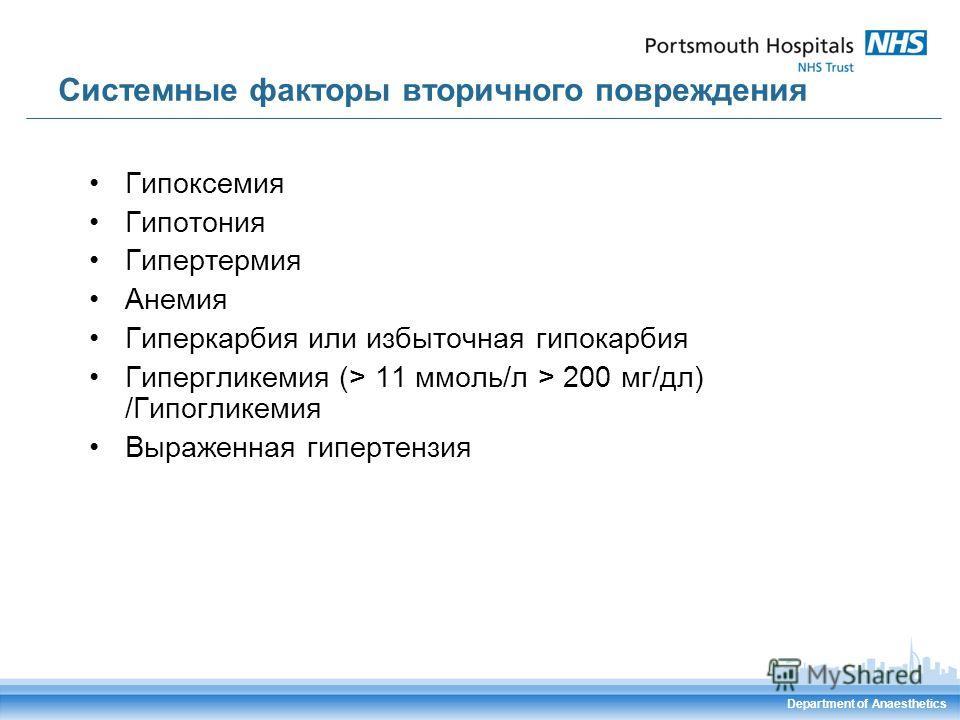 Системные факторы вторичного повреждения Гипоксемия Гипотония Гипертермия Анемия Гиперкарбия или избыточная гипокарбия Гипергликемия (> 11 ммоль/л > 200 мг/дл) /Гипогликемия Выраженная гипертензия