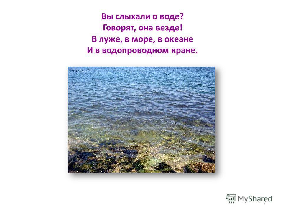 Вы слыхали о воде? Говорят, она везде! В луже, в море, в океане И в водопроводном кране. 7