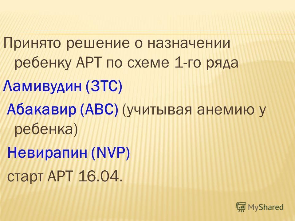 Принято решение о назначении ребенку АРТ по схеме 1-го ряда Ламивудин (3TC) Абакавир (ABC) (учитывая анемию у ребенка) Невирапин (NVP) старт АРТ 16.04.