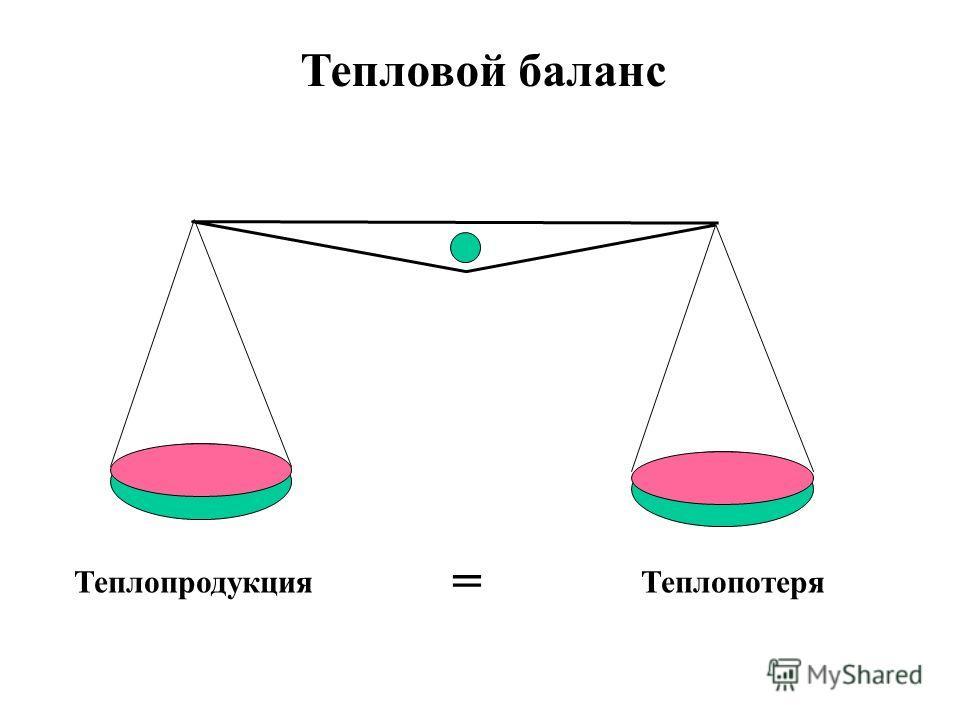 ТеплопродукцияТеплопотеря Тепловой баланс =