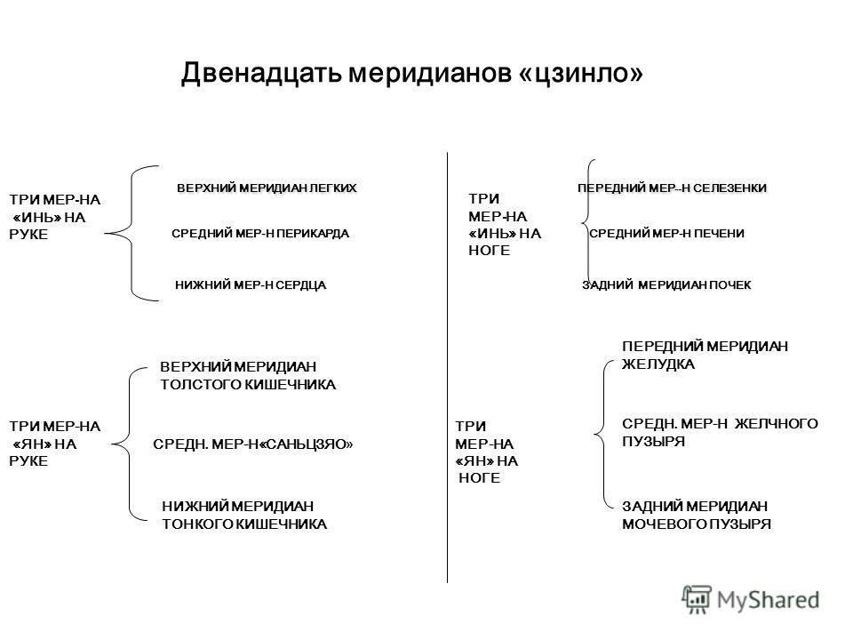 «Пять органов» уцзан, «шесть органов» люфу. Пять элементов, Двенадцать меридианов «цзинло» ТОЛСТЫЙ КИШЕЧНИК ЖЕЛУДОК (ЗЕМЛЯ) ЛЕГКИЕ (МЕТАЛЛ) СЕЛЕЗЕНКА ПОЧКИ (ВОДА) МОЧЕВОЙ ПУЗЫРЬ ТОНКИЙ КИШЕЧНИК СЕРДЦЕ (ОГОНЬ) ПЕЧЕНЬ (ДЕРЕВО) ЖЕЛЧНЫЙ ПУЗЫРЬ САНЬЦЗЯО П