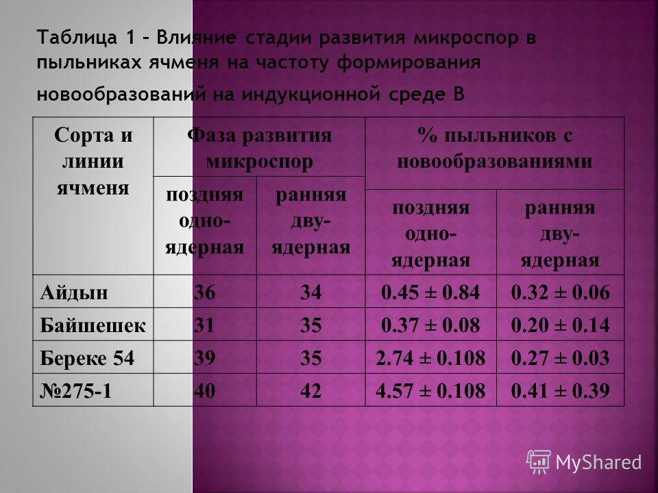 Сорта и линии ячменя Фаза развития микроспор % пыльников с новообразованиями поздняя одно- ядерная ранняя дву- ядерная поздняя одно- ядерная ранняя дву- ядерная Айдын36340.45 ± 0.840.32 ± 0.06 Байшешек31350.37 ± 0.080.20 ± 0.14 Береке 5439352.74 ± 0.