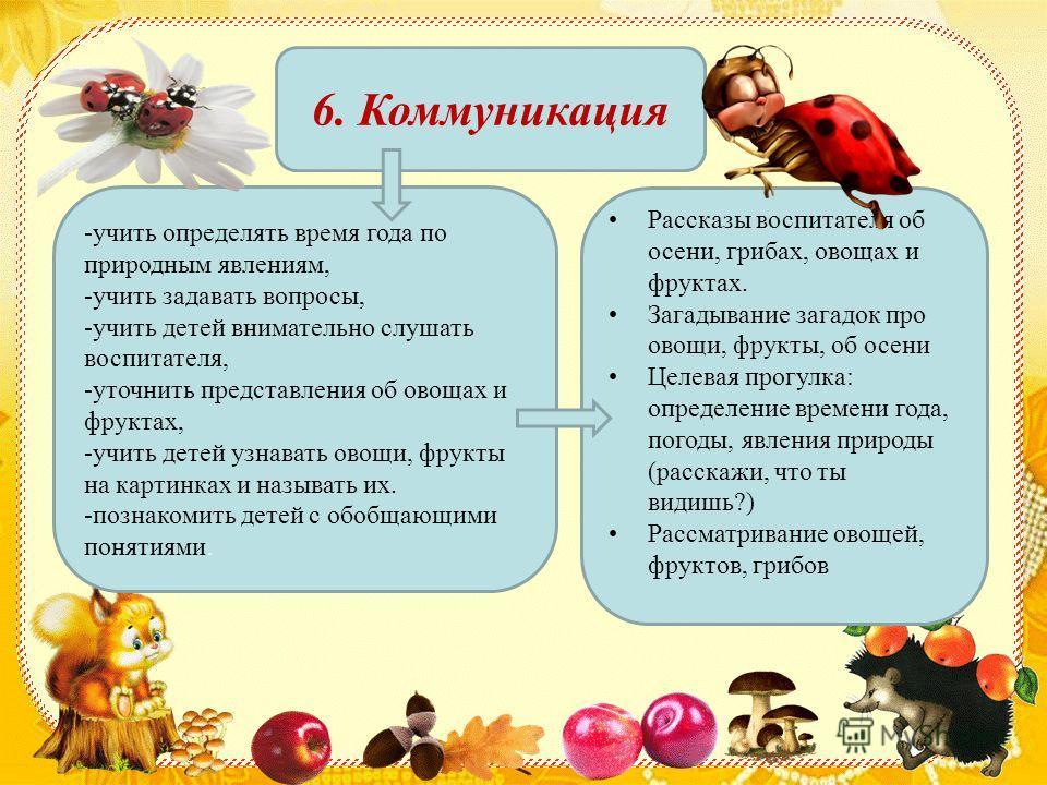 6. Коммуникация -учить определять время года по природным явлениям, -учить задавать вопросы, -учить детей внимательно слушать воспитателя, -уточнить представления об овощах и фруктах, -учить детей узнавать овощи, фрукты на картинках и называть их. -п