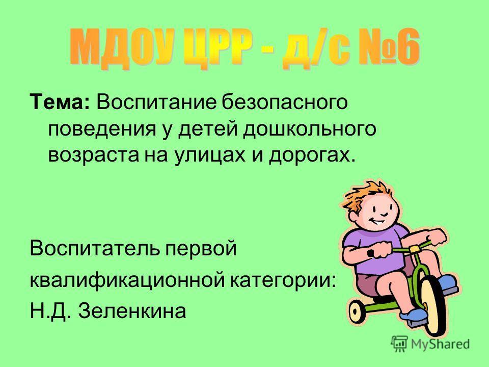 Тема: Воспитание безопасного поведения у детей дошкольного возраста на улицах и дорогах. Воспитатель первой квалификационной категории: Н.Д. Зеленкина