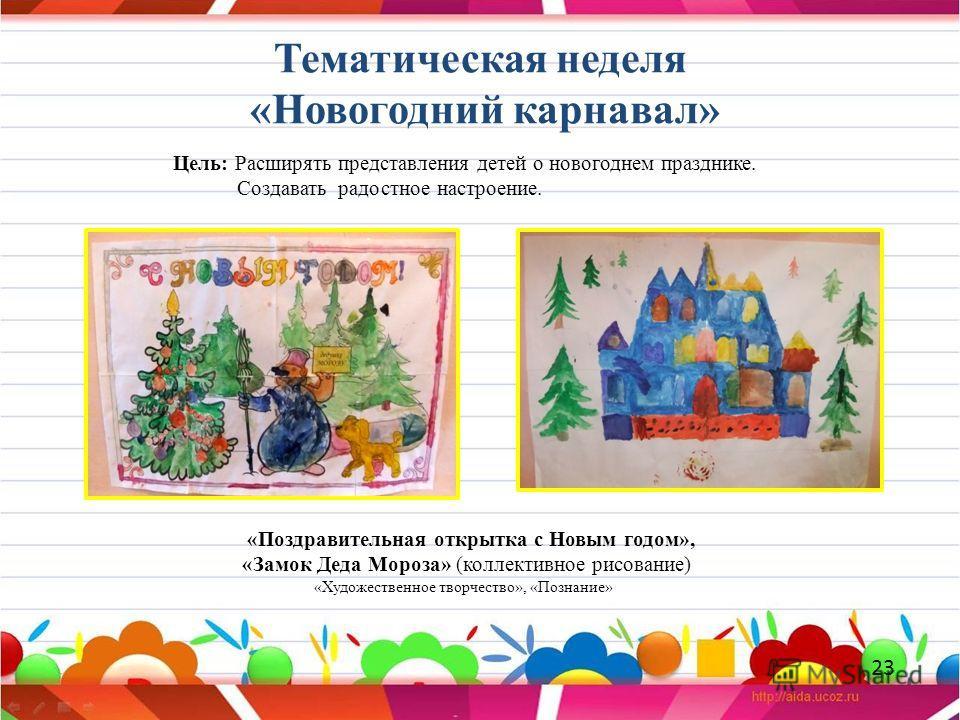 Тематическая неделя «Новогодний карнавал» «Поздравительная открытка с Новым годом», «Замок Деда Мороза» (коллективное рисование) «Художественное творчество», «Познание» Цель: Расширять представления детей о новогоднем празднике. Создавать радостное н