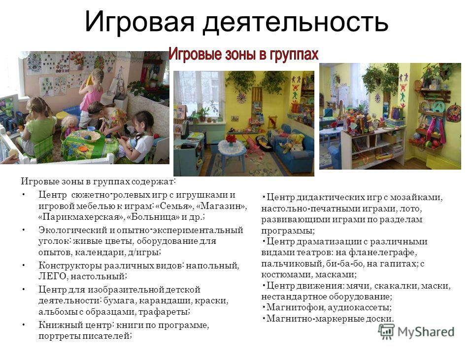 Игровая деятельность Игровые зоны в группах содержат: Центр сюжетно-ролевых игр с игрушками и игровой мебелью к играм: «Семья», «Магазин», «Парикмахерская», «Больница» и др.; Экологический и опытно-экспериментальный уголок: живые цветы, оборудование