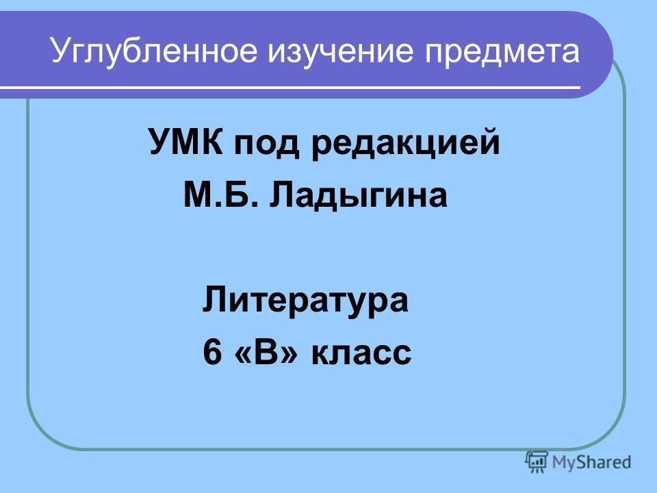 Углубленное изучение предмета УМК под редакцией М.Б. Ладыгина Литература 6 «В» класс