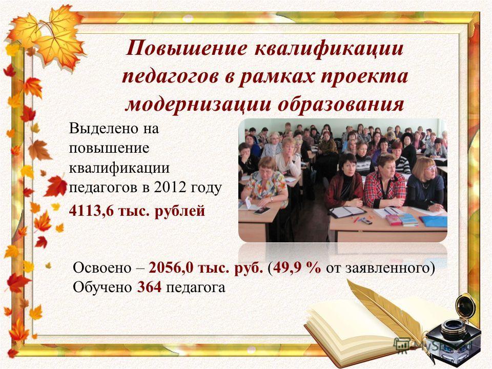 Повышение квалификации педагогов в рамках проекта модернизации образования Выделено на повышение квалификации педагогов в 2012 году 4113,6 тыс. рублей Освоено – 2056,0 тыс. руб. (49,9 % от заявленного) Обучено 364 педагога