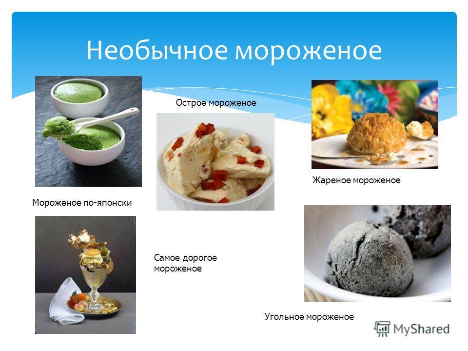 Необычное мороженое Мороженое по-японски Острое мороженое Жареное мороженое Самое дорогое мороженое Угольное мороженое